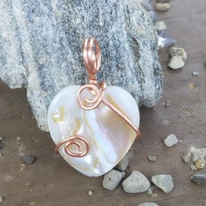 Shell heart copper wrap tiny pendant