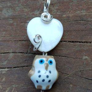 shell Heart N Owl Pendant